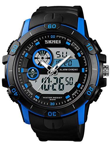 Uhr Herren Militär Analog Digital Sportuhr IP68 Wasserdicht 5 ATM LED Wecker Dualzeit Stoppuhr Datum Kalender Tactical