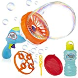 KreativeKraft Bubble Machine For Kids, With 2 Interchangeable Bubble Wands, Bubble Gun For