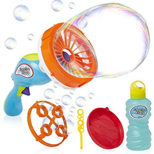 KreativeKraft Seifenblasen Pistole Kinder, Seifenblasenmaschine Kinderspielzeug, Outdoor Spielzeug Mit 2 Blasformen Und Seifenblasen Flüssigkeit Inbegriffen, Kleine Geschenke Für Kinder