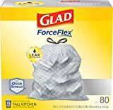 Glad ForceFlex Tall Kitchen Drawstring Trash Bags 13 Gallon Grey Trash Bag, Unscented 80 Count (Package May Vary)