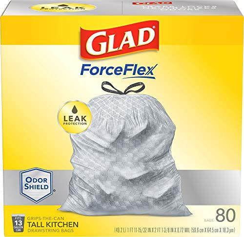 Glad ForceFlex Tall Kitchen Drawstring Trash Bags 13 Gallon Grey Trash Bag, Unscented 80 Count...