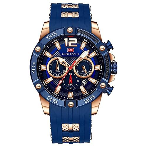 JTTM Cronógrafo Multifuncional para Hombres Luminoso Militar Deportes Al Aire Libre Correa De Silicona Grande Reloj De Pulsera De Cuarzo,Rose Blue
