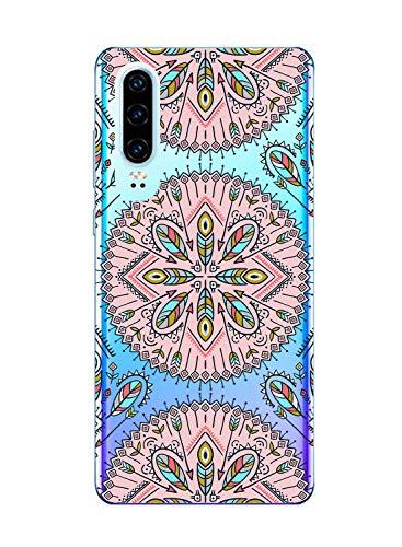 Suhctup Funda Compatible con Huawei Mate 9,Carcasa Protectora de Silicona Transparente TPU Bumper con Floral Diseño,Ultra Fina Anti-Choques y Anti-Arañazos Resistente Case,Rosa