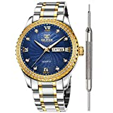OLEVS Blue Dial Diamond Luxury Watches for Men Waterproof Mens Diamond Fashion Casual Watch Inexpensive Calendar Analog Quartz Watch Stainless Steel Classic Wrist Watch for Men
