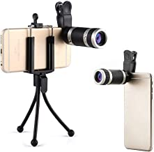 Phone Camera Lens, Camera Lens Kit 4-in-1, Zoom Lens 18X HD, Macro Lens 8X Low-Light Night Vision, Phone Photography Kit w/Retractable Tripod, Clip, Compatible with iPhone Samsung Android Devices