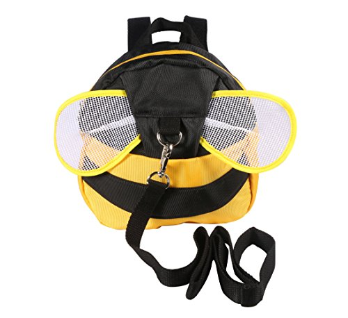 WINSHEA Baby Kind Kleinkind Walking Sicherheitsgeschirr Rucksack Kind Kinder Riemen Schulter Rucksack Tasche mit Zügeln Leine Gürtel (Gelb-Bee)
