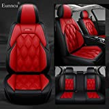Eunncu Fundas Asientos Coche Universales Accesorios para BMW Serie 6 640i F13 640i F12 650i F12 640d F12 640d F06 640i F06 Cuero Impermeable Negro Rojo