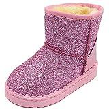 Elcssuy Toddler Girls Glitter Winter Boots Warm Fur Lining Non-Slip Snow Shoes Pink 12 Little Kid