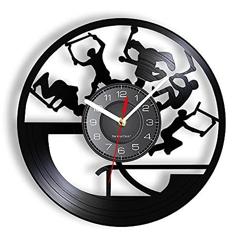 """Reloj de pared de vinilo Freestyle Stunt Scootering Tricks Reloj de pared Rendimiento acrobático Grabado con láser para habitación de adolescentes Reloj colgante para montar en scooter - 30cm.12"""""""
