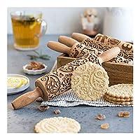 HIUCHEN クリスマスエンボスローリングピン、様々なパターンベーキングクッキービスケットケーキ生地刻まれた木製ローラー (Color : L, Size : 35cm)