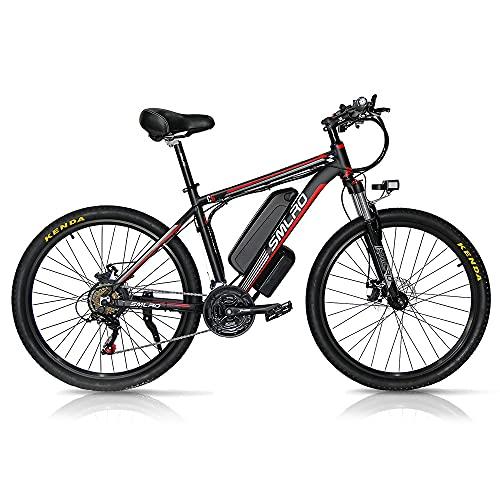 Bici Elettrica 1000W, 26-Zoll e-MTB con Batteria Rimovibile 48V 13Ah, Shimano Cambio a 21 Velocità, Massima Velocità:45km/h, 3 - Modalità di Guida - Spedita dalla Polonia,red