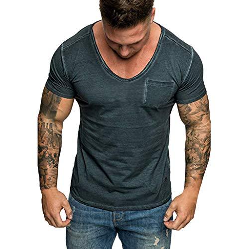 ZEFOTIM ✿ Men T Shirts best dc 24 shoes mens collarless dress shirts 4xl shirt purple burgundy slim for men 4x 2 xl dress shirts for men 3x t shirt ut ou guy silk plaid(DarkBlue,XX-Large)