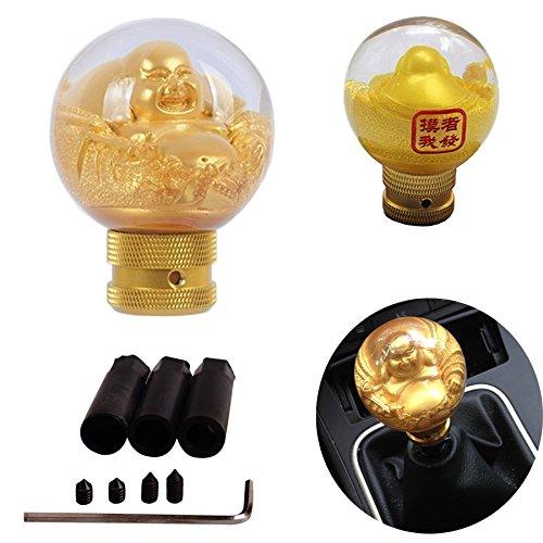 SMKJ Auto Schaltknauf Universal Schaltknüppel Gold Buddha Resin Shifter Knob für Most Manuelles oder automatisches Getriebe Ohne RGA