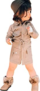 Lanhui Toddler Baby Girls Long Sleeve Trench Coat Windbreaker Jacket Outwear Slim Waist Autumn Fashion