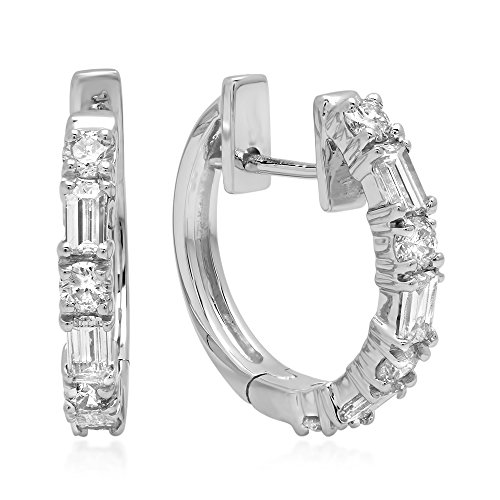 Dazzlingrock Collection 0.45 Carat (ctw) 14K Round & Baguette White Diamond Ladies Huggies Hoop Earrings 1/2 CT, White Gold