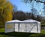 Defacto® Pavillon 3x6m Faltpavillon Gartenzelt Partyzelt Garten Pavillon Faltbar PVC-Oxford -100% wasserdicht 3- Seitenwand (2 volle Wand 1 Fenster) Tragetasche Weiss