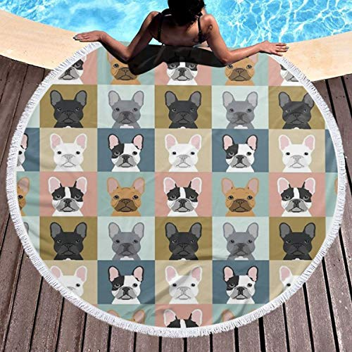 JinSPef Round Beach Towel Blanket French Bulldog Frenchie Bulldog Portraits Dogs Beach Throw with Tassels Microfiber Towels Picnic Carpet Yoga Mat for Women Men 59 Inch