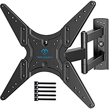 PERLESMITH TV Wall Mount for Most 26-55 Inch Flat Curved TVs with Swivels Tilts & Extends 19.5 Inch - Wall Mount TV Bracket VESA 400x400 Fits LED LCD OLED 4K TVs Up to 88 lbs Black  PSMFK1