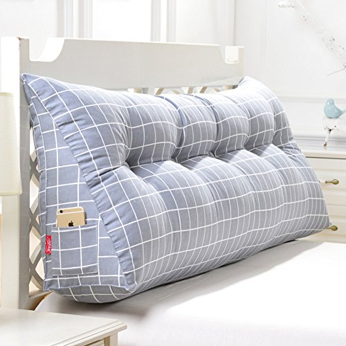 DULPLAY Cojín de cuña triangular grande, respaldo de cama, almohada de apoyo de posicionamiento, almohada de lectura para silla, sofá, sala de estar, poliéster, A, 100x20x50cm(39x8x20inch)