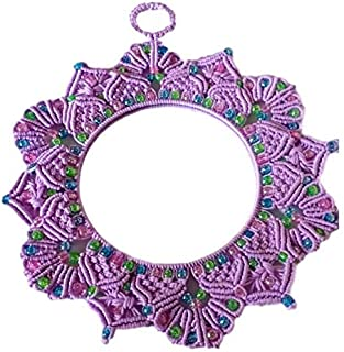 SKENTERPRISES Purple Micron Fabric Round Wall Mirror