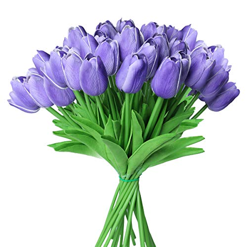 Tifuly 24 Pezzi di Tulipani Artificiali in Lattice, realistici Bouquet di Fiori Finti di Tulipani per la casa, Matrimonio, Festa, Decorazione dell'ufficio, composizioni Floreali (Viola)