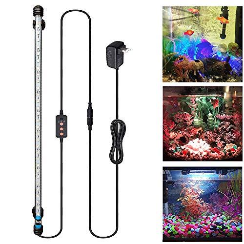 Viilich LED-Aquarium-Licht, Unterwasser-Aquarium-Lampe mit Fernbedienung, wasserdichte Aquarium-Beleuchtung, RGB-Farbe, tauchfähig, mit automatischem Ein-/Aus-Timer, 57 cm