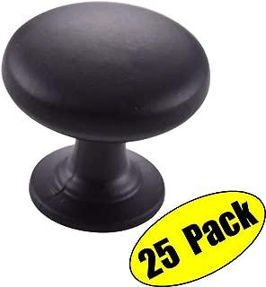 KES Solid Metal Cabinet Hardware Round Mushroom Knob Matt Black, 25 Pack, HCK300-BK-P25
