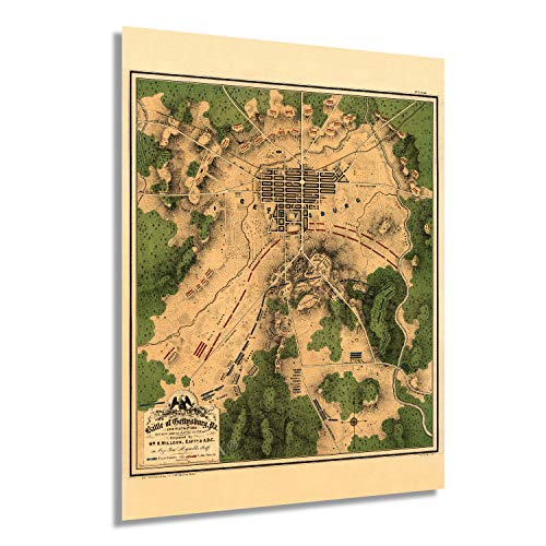 Historix Vintage 1863 Map of the Battle of Gettysburg Pennsylvania - 18x24 Inch Vintage Map Wall Art - American Civil War Poster Showing Line of Battle on July 2nd 1863 - Gettysburg Map (2 sizes)