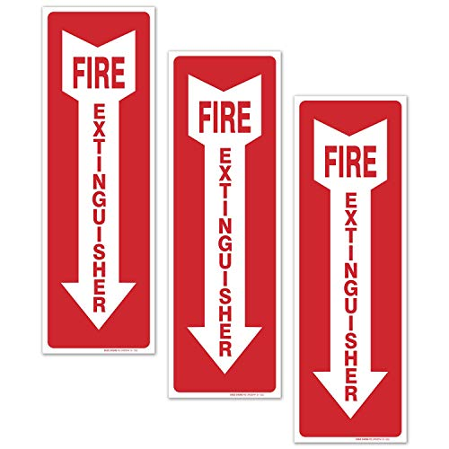(3 Pack) Fire Extinguisher Sign, Fire Extinguisher Stickers, 4x12 Inches, 4 Mil Vinyl Self Adhesive Durable Decal Stickers, Long Lasting, Weatherproof and UV Protected, Made in USA by SIGO SIGNS