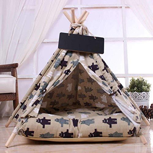ZXL Doghouse Doghouse Dog-Hole Pet Bed Mat 5-Hoek Paal Huisdier Tent met Gevoerde Kennel Comfortabele katoenen hond kennel voor eenvoudig reinigen en dragen