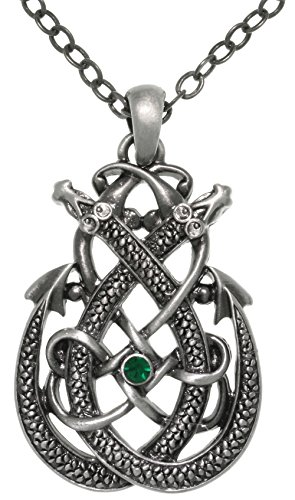 Jewelry Trends Celtic Dragon Teardrop Knot Pewter Pendant Necklace 23'