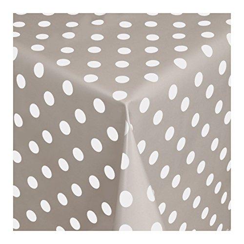 WACHSTUCH Tischdecken Wachstischdecke Gartentischdecke, Abwaschbar Meterware, Länge wählbar, Punkte Grau Weiß (150-07) 140cm x 140cm