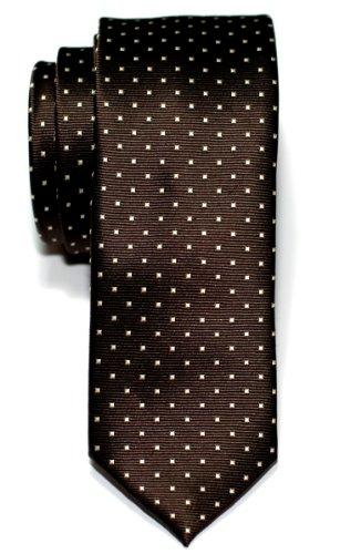 Retreez Herren Schmale Gewebte Krawatte Kleinen Punkten 5 cm - dunkelbraun mit braun punkten