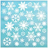 36 Snowflake Window Cling Christmas Decorations, 2' & 4' Snowflakes, Reusable White Snowflake Window clings. 12 x 4 + 24 x 2 Snow Flake Window Cling/Window Decal Holiday décor.