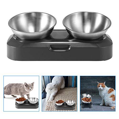 TTAototech Katzennapf, 15° geneigte Plattform, Doppelnapf, Katzenfutternapf erhöht, mit Ständer, verstellbar