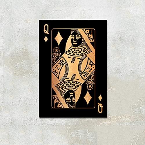 Cartas de póquer, pinturas en lienzo, arte de pared, decoración del hogar, imágenes de póquer, impresiones en HD, carteles de decoración de Club Casino bar restaurante (LQ-351) 40x60cm Sin marco
