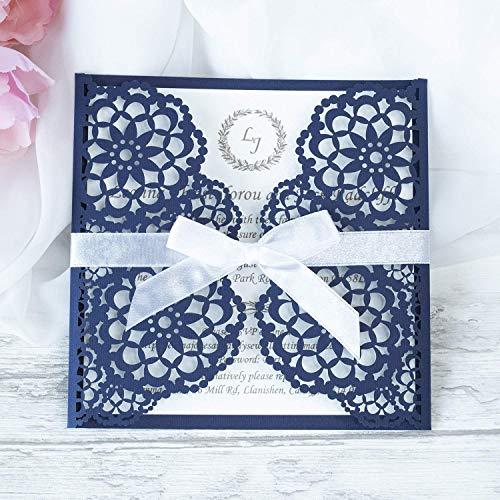 50 CARTE CONFEZIONE Partecipazioni matrimonio taglio laser fai da te inviti matrimonio carta blu marino con busta