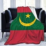 YuLiZP Decke Wohn Kuscheldecken Mauretanien Flagge Personalisiert Fleece Bettdecken Warme Flauschige Reversible Mikrofaser-Massivdecken Für Bett Und Couch 80X60 Inches