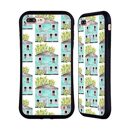 Head Case Designs Oficial Cat Coquillette Casa Turquesa Shaena Edificios Carcasa híbrida Compatible con Apple iPhone 7 Plus/iPhone 8 Plus