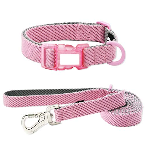 azuza Dog Collar and Leash Set, Soft, Lightweight and Comfort Dog Collar with Matching Leash for Small Medium and Large Dogs. Pink