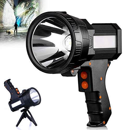 Rechargeable Torch 7000 Lumens LED Searchlight 6000mAh Super Bright Waterproof Handheld Flashlight Spotlight with USB Output as a Power Bank (Black-a)
