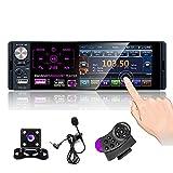 CAMECHO Autoradio Bluetooth 4 '' à écran Tactile capacitif Récepteur Radio FM/AM/RDS stéréo pour Voiture avec Double Port USB/AUX-in/Carte SD + caméra de recul + Commande au Volant