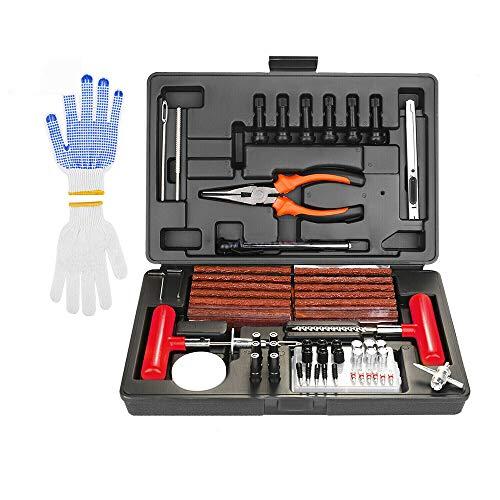 HRNAKDFKL Kit de reparación de neumáticos de Alta Resistencia de 100 Piezas con Calibre,Guantes y Accesorios para neumáticos,Kit de reparación de neumáticos para automóviles, Bicicletas,Motocicletas