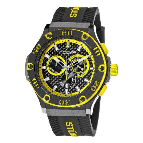Stuhrling Original Men's 292P.335965 Sportsman Black Scorpion Swiss Quartz Chronograph Rubber Strap Watch