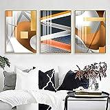 Cartel abstracto Modernoo con figuras geométricas impresas en imagen naranja para la sala de estar Dormitorio Arte de la pared Decoración del hogar/40x60cmx3 Sin marco