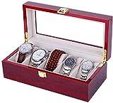 QXYMY Cajas de joyería Caja de Reloj Hombre Mujer Regalo Viaje Mostrador de Madera Techo corredizo de Vidrio Flip Beaded Caja de Almacenamiento de múltiples Posiciones (Color: 5 dígitos)
