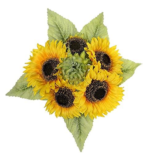 Künstliche Sonnenblumen Kunstblumen Dekorative Seidenblumen Strauß Kunstpflanzen Sunflowers für Hochzeit Party Tischdeko Dekoration 1 Stücke