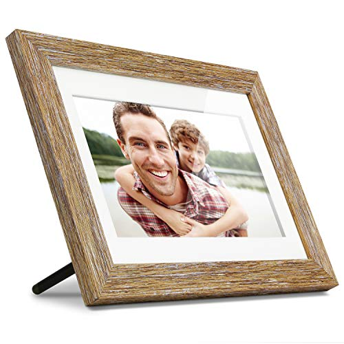 "Aluratek 10"" Distressed Wood Digital Photo Frame with Auto Slideshow, 1024 x 600 (ADPFD10F), 10"" Wood Border, 10 Inch"