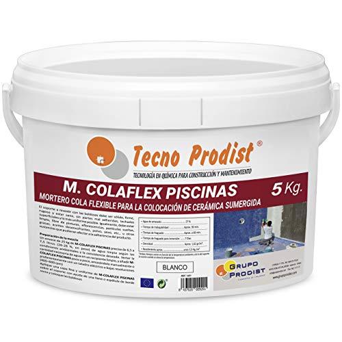M-COLAFLEX PISCINAS de Tecno Prodist (5 Kg) Adhesivo cementoso mejorado flexible ideal para la colocación de baldosas en contacto permanente con agua como piscinas, depósitos agua, etc (Blanco)