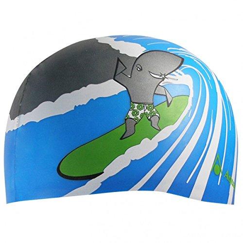 Aqua Sphere - Surf Cap tiburón - Gorro de baño para niños y niñas, de Color: Azul Claro/Verde